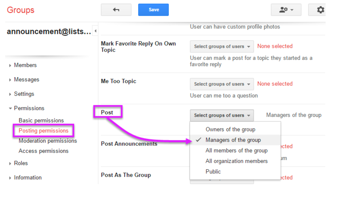 It How To Create An Announcement Only Bconnected List Google Group