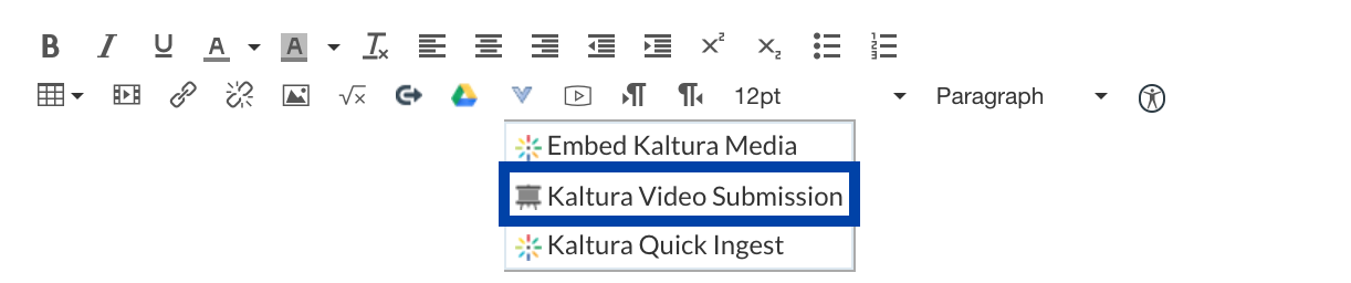 Kaltura Video Submission highlighted in External Tools Button  menu