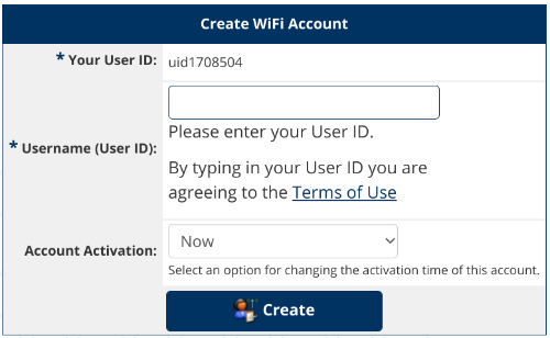 WiFi Keys Create Account Screen