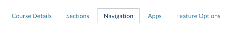 "Course Settings Tabs with ""Navigation"" selected"